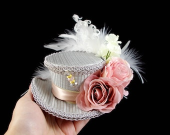 Gray and Pink Rose Flower Garden Mini Victorian Riding Hat Fascinator, Marie Antoinette, Alice in Wonderland, Derby Hat