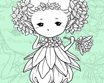 PNG Digital Stamp - Daphne Sprite - Whimsical Flower Fae - digistamp - Fantasy Sprite Line Art for Cards & Crafts by Mitzi Sato-Wiuff