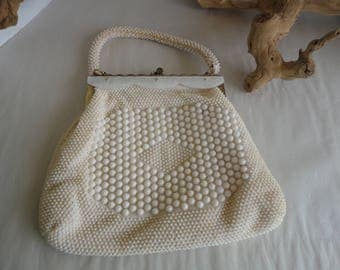 Ivory Colored Beaded Purse