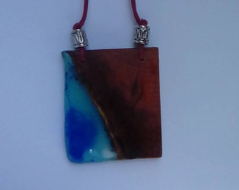 Handcrafted pendant necklace Yew wood and resin