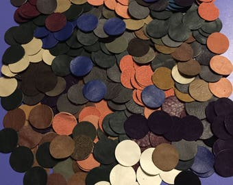 Leather Scraps / Leather Circles / Leather Pieces / Leather Earring / Leather Pcs / Upcycle Leather / Recycle Leather / Colorful Leather