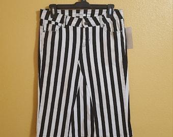 Upcycled Striped Denim Skirt Size 5