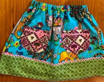 Kids cotton skirt - 2T upcycled summer skirt - pocket skirt - pink rickrack trim - retro fabric - elephants  - apples - eco girl - eco kids