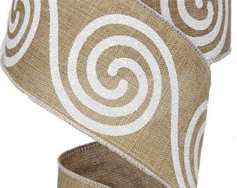 """Christmas Ribbon, Swirls On Beige, Natural Canvas, 2.5"""" x 10Yds, Wired, Holiday Ribbon, Wreath Supply, Wreath, Holiday Ribbon, 409N2, R22"""