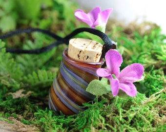 Hand Blown Vessel, Vial, Lampwork Pendant Necklace Jewelry (Boro/Borosilicate Glass) - Amber, Blue - Keepsake, Oil, Perfume, Stash, Potion