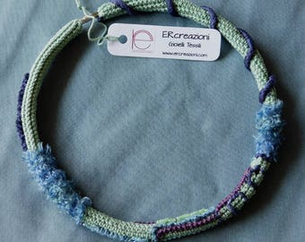 Water-colored crochet choker, with different textures and hand dyed silk thread.