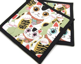 Lucky Cat Potholders, Green, Black & White Pot Holders, Cotton Fabric Hot Pads - Housewarming Gift, Hostess Gift