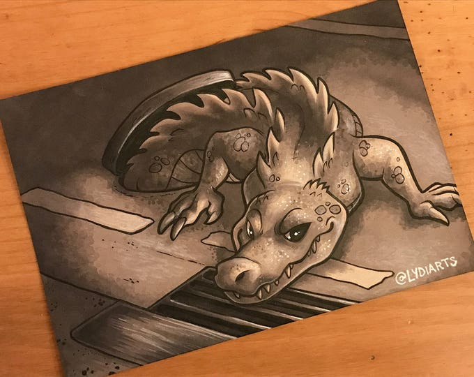 Cryptid Inktober 2017 Illustration - Sewer Gator