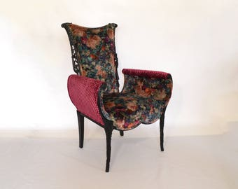 Hollywood Regency Chair Carved Black Floral Upholstered Vintage