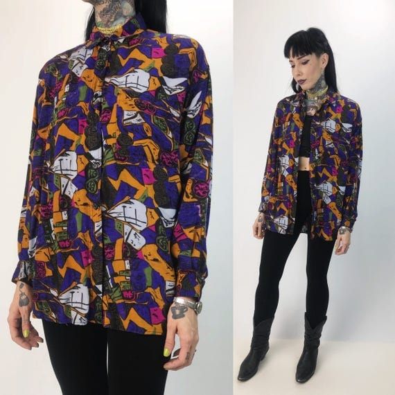 90's Abstract All Over Print Button Front Long Sleeve Top Medium - Colorful Rayon FUN Allover Printed Button Up Rayon VTG Blouse With Collar
