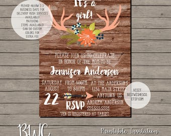 Fall Baby Shower Invitation, Antlers Invitation, Oh Deer Baby Shower, Fall Invitation, Rustic Baby Shower, Digital File