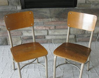 SET of 2---Vinitage School Chairs -Metal base -industrial  -Children's chairs - Kid's Chairs- photo prop chair -elementary school seating