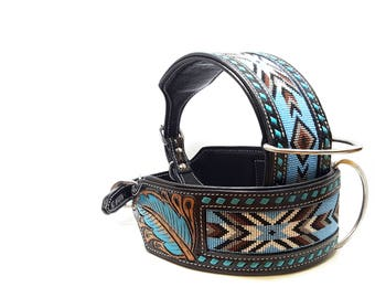 """3"""" Wide Bully Handmade Hand Beaded & Tooled Turquoise Black MadcoW Buck Stitched Style Canine Leather K9 Dog Show Collar Fully Adjustable"""