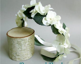 """Ivory Hydrangea Crown, Silk Hair Garland, Adjustable Floral Head Wreath, Flower Girl or Bridal Headpiece with Pearl Accents, """"Grace"""""""