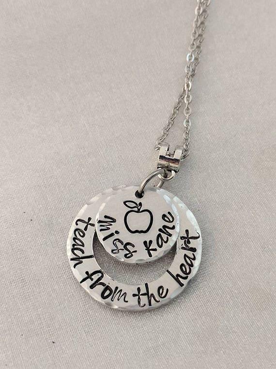 Teacher Gifts - Preschool Teacher Gifts - Teach From The Heart - Customized Teacher Gift - Teacher Necklace - Teacher Appreciation - Apple