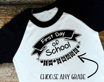 Children's First Day of School Shirt, Raglan Tee, 1st 2nd 3rd 4th 5th Grade T-Shirt, Kid's Back to School, Pre-K, Kindergarten, Preschool