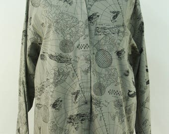 Vintage 1980's 80's Diane von Furstenberg Gray Map Atlas Explorer Nautical Travel Print Button Front Shirt SZ M G3