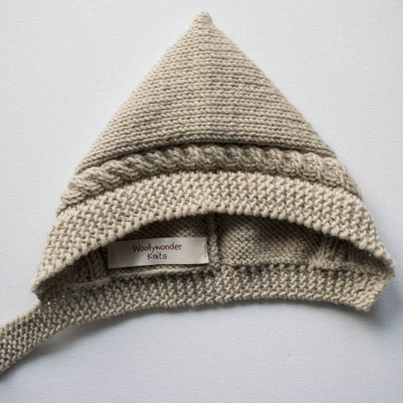 Cable Knit Pixie Hat in Almond Merino Wool - Size 0-3 months - Ready to Ship