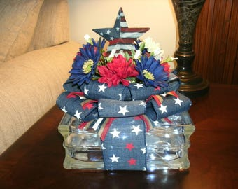 Patriotic Metal Star Centerpiece, Holiday Decor, Lighted Glass Block, 4th of July, Red White & Blue Decor, Americana decor, Table Decor