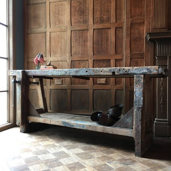 Antique Wood Working Workbench with Vice, Vintage Industrial Workbench, Industrial Console Table, Primitive Sofa Table
