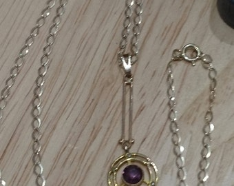Vintage 9ct gold amethyst pendant and chain