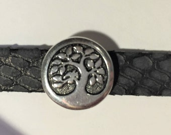 Silver 10mm Bird in a Tree Slider for Flat leather bracelets, Antique Silver, TierraCast Button Slider, finding, jewelry making supplies