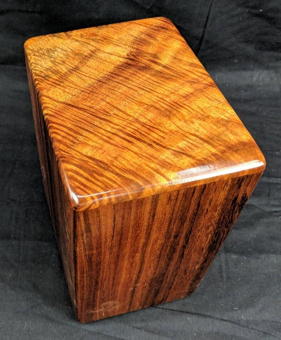 "Large Curly Hawaiian Koa Memorial Cremation Urn... 7""wide x 5""deep x 9""high Wood Adult Cremation Urn Handmade in Hawaii LK021918-A"