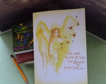 Angel Blessings/We are never so lost, our Angels cannot find us/Angel Journal/Angel art/Healing art/Angel/Spiritual Journal/Angel Retreat