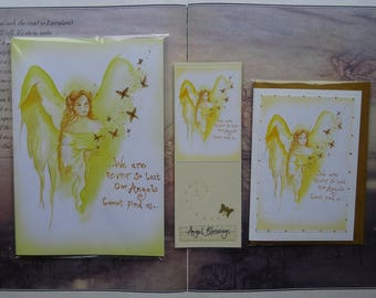 Angel Blessings Notebook, Handmade Bookmark and Card Gift Set