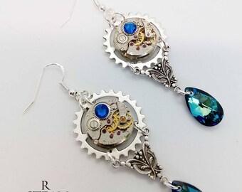 steampunk - earrings - steampunk earrings - steampunk jewellery - silver earrings - crystal earrings - blue earrings - womens steampunk gift