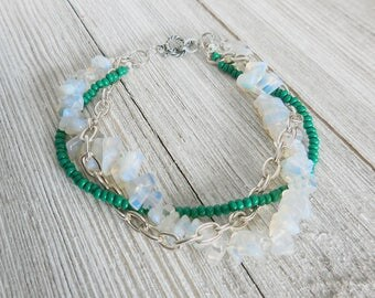 Braided Moonstone Bracelet, Turquoise Beads, Silver Chain, Chunky Statement Jewelry, Multi Strand
