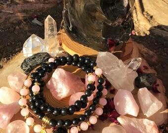 ROSE QUARTZ & OBSIDIAN Mala Beads 108 | Genuine Rose Quartz Gemstone Mala | Crystal Healing Heart Chakra | Yoga Prayer Beads | Mantra