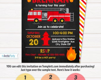 Firetruck invitation etsy fire truck birthday party invitations firetruck party fire truck invitations firetruck birthday party stopboris Image collections
