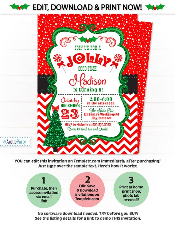 Christmas invitation christmas party invitation template christmas invitation christmas party invitation template christmas birthday party invitation santa invitation xmas invitation stopboris Images