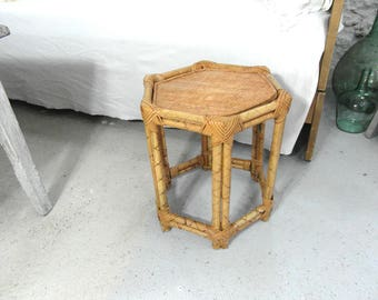Beautiful Vintage Bamboo Rattan Table, Wicker Side Table, Bedside Table, Coffee  Table, French