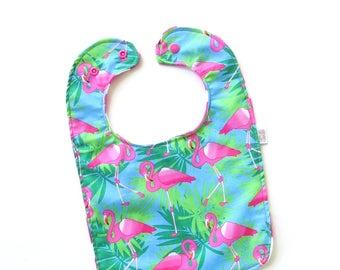 Flamingo Baby Bib | Baby Girl Bib | Handmade Baby Bib | Toddler Bib | Feeding Bib | Baby Shower Gift | Flamingo Baby Gift | Pink Baby Bib