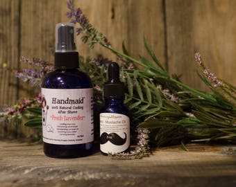 Beard Grooming Kit - Lavender - Aftershave - Beard Oil - Mustache Oils - Beard Care - Beard Kit - Gifts for Him - Gifts for Dad - Mens Gift