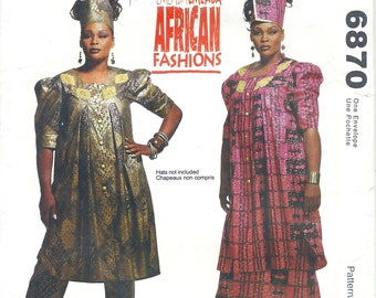 McCall's 6870 Emeaba African Fashions Misses' Tunic, Skirt and Pants Sewing Pattern UNCUT