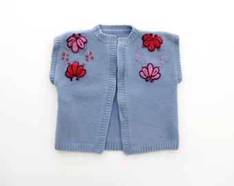 Vintage Knit Vest // Hand Knit 70's Blue Embroidered Vest