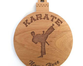 Personalized Wood Karate Ornament