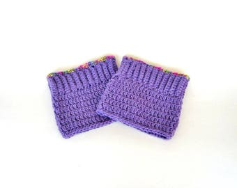 Lavender Crochet Purple Boot Cuffs, Legwarmers, Boot Topper, Boot Accessory