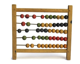 French Antique Counting Beads Frame. Antique Wooden Abacus.