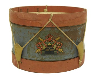 French Vintage Toy Tin Drum. Art Deco Musical Toy. Antique French Music Instrument.