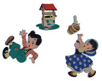 1940s Vintage Jack and Jill Nursery Wall Art Decor. Dolly Toy Company Mother Goose Pin Ups. Cut Out Wall Hanging Plaques. Kids Room Decor.