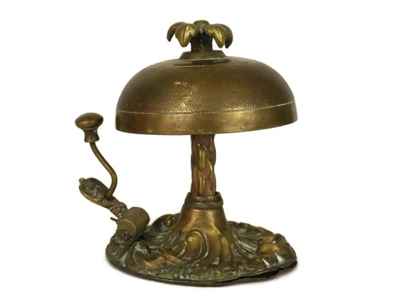 Like this item? - French Antique Brass Service Bell. Front Desk Call Bell. Hotel