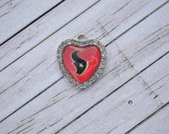 Houston Texans Heart Pendant Charm / Houston Texans / Texans Charm / Jewelry Supplies