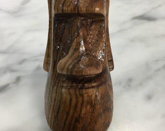 Zebrawood Moai Head Carving
