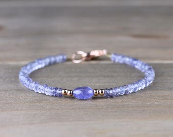Delicate Iolite & Tanzanite Pebble Bead Bracelet, Sterling Silver, Yellow or Rose Gold Filled, Natural Purple Blue Beaded Gemstone Bracelet