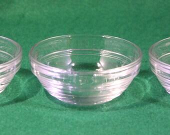 Set of (3) Duralex 2 oz stackable clear measuring  bowls.