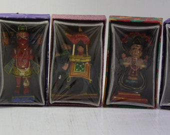 8 vintage wood  Hand craved  and painted souvenir Hinduism Hindu deities figurers sealed in original gift boxes - 1970's - 80's